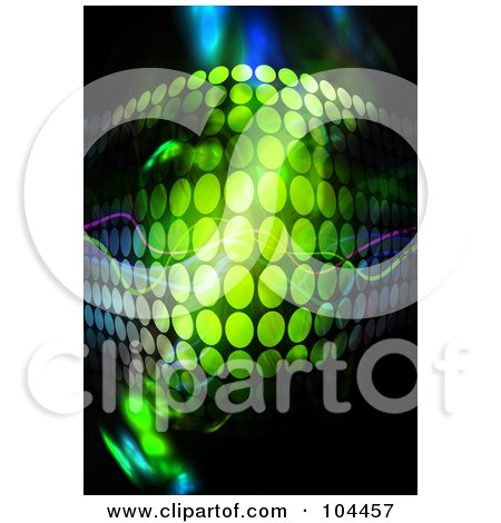Royalty-Free (RF) Clipart Illustration of a Green Halftone Wave Curving Out On Black by Arena Creative