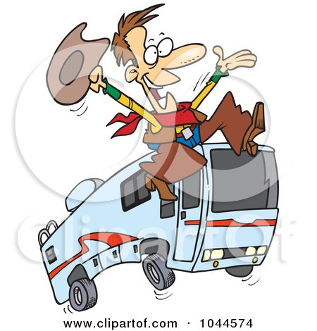 Royalty-Free (RF) Clip Art Illustration of a Cartoon Cowboy Leaping By A Motorhome by toonaday