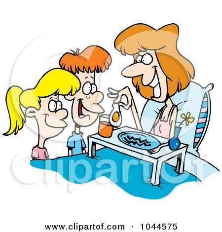 Royalty-Free (RF) Clip Art Illustration of Cartoon Children Serving Their Mom Breakfast In Bed by toonaday