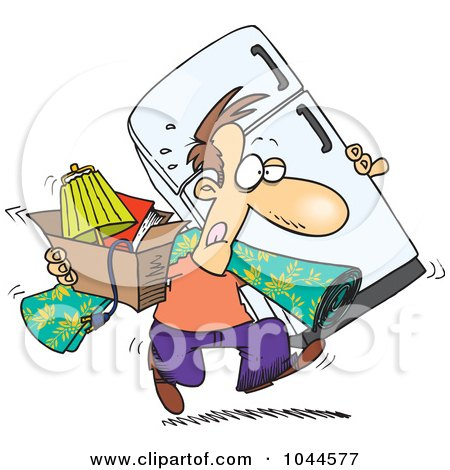 Royalty-Free (RF) Clip Art Illustration of a Cartoon Man Moving by toonaday
