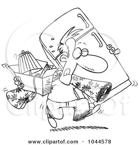 Royalty-Free (RF) Clip Art Illustration of a Cartoon Black And White Outline Design Of A Man Moving by toonaday