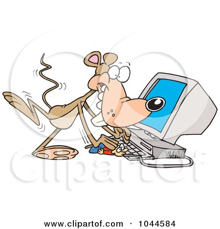 Royalty-Free (RF) Clip Art Illustration of a Cartoon Mouse Using A Computer by toonaday