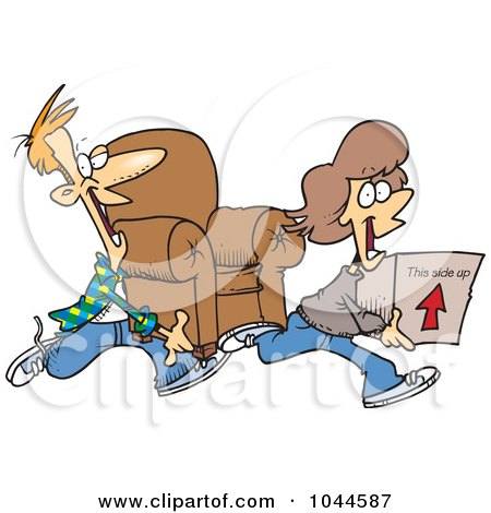 Royalty-Free (RF) Clip Art Illustration of a Cartoon Couple Moving by toonaday