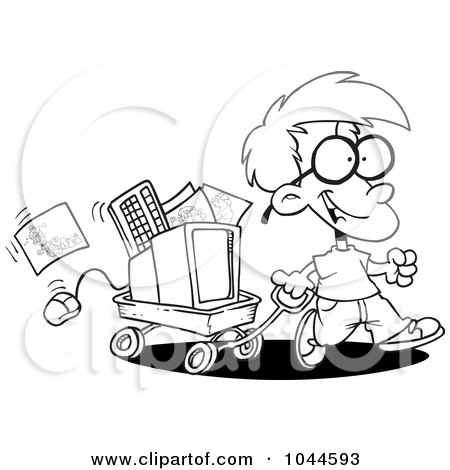 Royalty-Free (RF) Clip Art Illustration of a Cartoon Black And White Outline Design Of A Geeky Boy Moving His Computer In A Wagon by toonaday