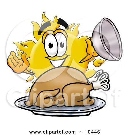 Clipart Picture of a Sun Mascot Cartoon Character Serving a Thanksgiving Turkey on a Platter by Toons4Biz