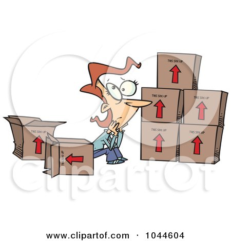 Royalty-Free (RF) Clip Art Illustration of a Cartoon Sad Woman Sitting By Moving Boxes by toonaday