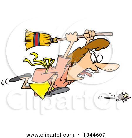 Royalty-Free (RF) Clip Art Illustration of a Cartoon Woman Chasing A Mouse by toonaday