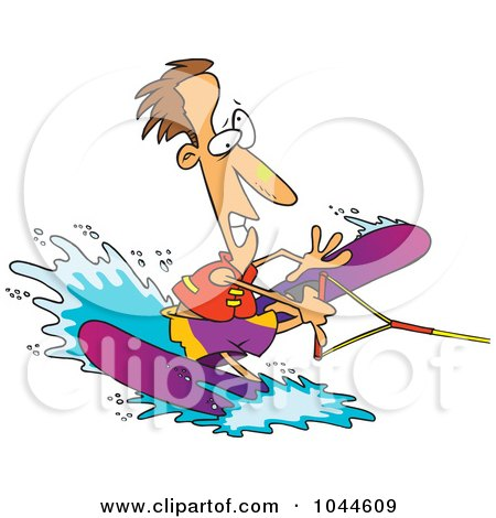Royalty-Free (RF) Clip Art Illustration of a Cartoon Clumsy Man Water Skiing by toonaday