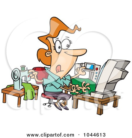 Royalty-Free (RF) Clip Art Illustration of a Cartoon Woman Sewing And Working At The Same Time by toonaday