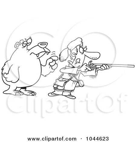 Royalty-Free (RF) Clip Art Illustration of a Cartoon Black And White Outline Design Of A Bear Tapping A Hunter On The Shoulder by toonaday