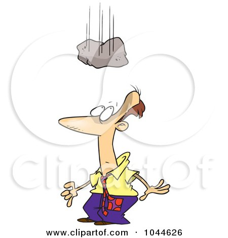 Royalty-Free (RF) Clip Art Illustration of a Cartoon Rock Falling Over A Businessman