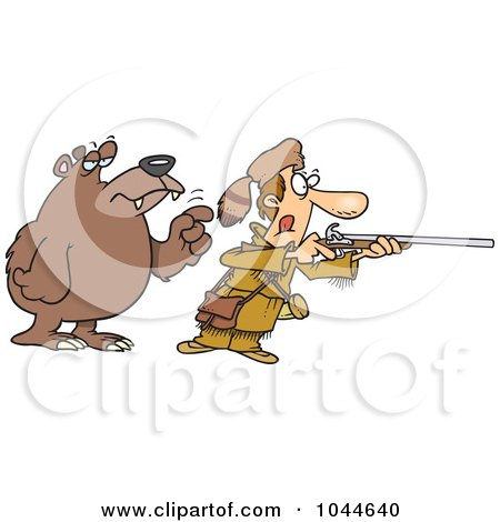 Royalty-Free (RF) Clip Art Illustration of a Cartoon Bear Tapping A Hunter On The Shoulder by toonaday