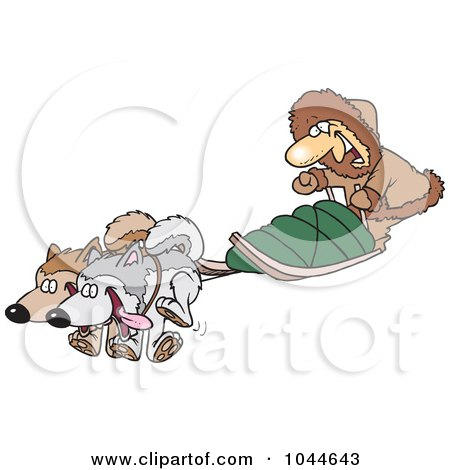 Royalty-Free (RF) Clip Art Illustration of a Cartoon Man With Sled Dogs by toonaday