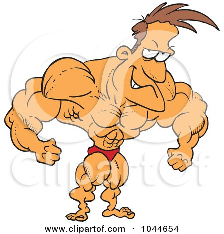 Royalty free rf clip art illustration of a cartoon - Cartoon body builder ...