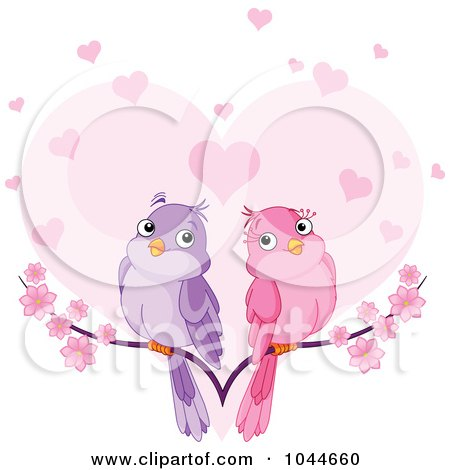 Royalty-Free (RF) Clip Art Illustration of a Pair Of Doves On A Branch Over A Heart With Blossoms by Pushkin