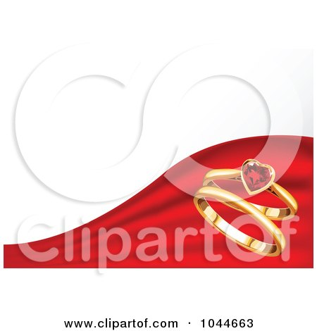 Royalty-Free (RF) Clip Art Illustration of a Ruby Heart Ring And Gold Ring On A Divided Red And White Background by Pushkin