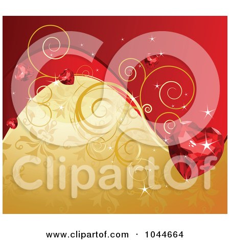 Royalty-Free (RF) Clip Art Illustration of a Ruby Heart Over A Red And Gold Floral Background by Pushkin
