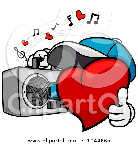Royalty-Free (RF) Clip Art Illustration of a Heart Character Carrying A Boom Box by BNP Design Studio