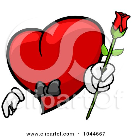 Royalty-Free (RF) Clip Art Illustration of a Romantic Heart Character Holding Out A Rose by BNP Design Studio
