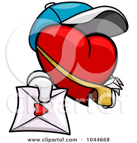 Royalty-Free (RF) Clip Art Illustration of a Heart Mail Man Holding Out A Love Letter by BNP Design Studio