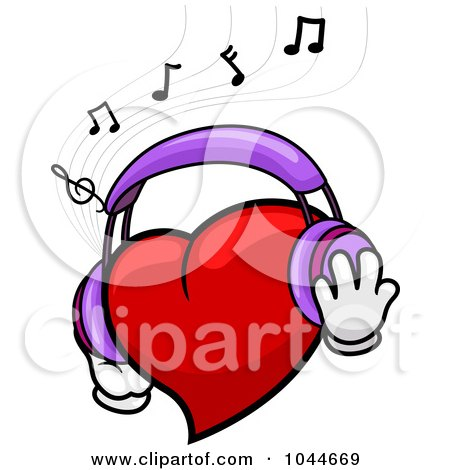 Royalty-Free (RF) Clip Art Illustration of a Heart Wearing Headphones And Listening To Music by BNP Design Studio