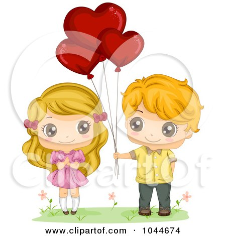 Royalty-Free (RF) Clip Art Illustration of a Sweet Boy Giving His Girlfriend Valentine Heart Balloons by BNP Design Studio