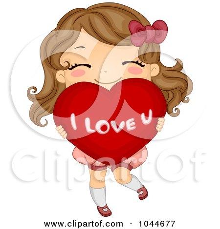 Cute Girl Carrying A Big I Love U Heart Posters Art