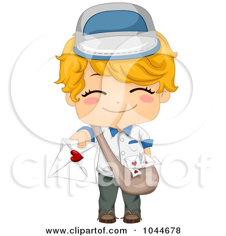 Royalty-Free (RF) Clip Art Illustration of a Cute Boy Deliverying A Love Letter by BNP Design Studio