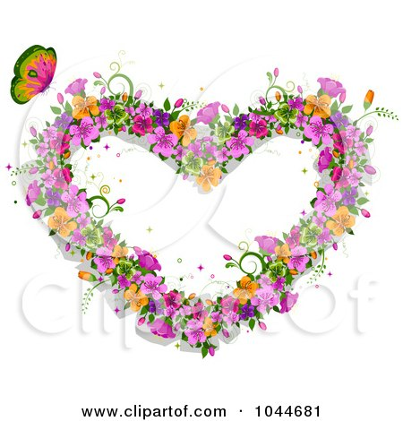 Royalty-Free (RF) Clip Art Illustration of a Butterfly By A Heart Made Of Colorful Flowers by BNP Design Studio
