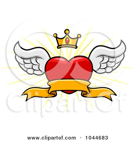 Royalty-Free (RF) Clip Art Illustration of a Winged Heart Banner With A Crown And Burst by BNP Design Studio
