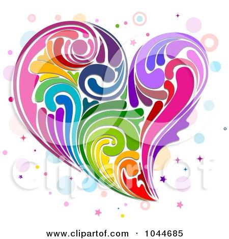 Royalty-Free (RF) Clip Art Illustration of a Colorful Rainbow Swirl Heart by BNP Design Studio