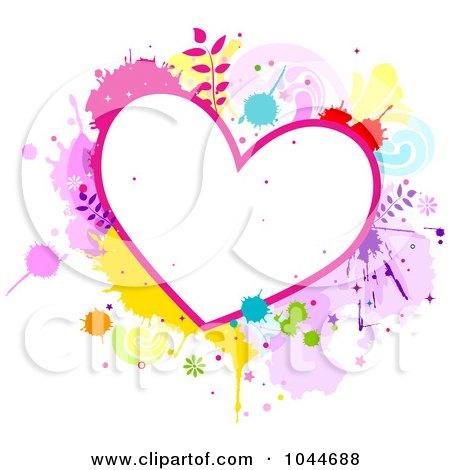 Royalty-Free (RF) Clip Art Illustration of a Colorful Splatter Heart Frame by BNP Design Studio