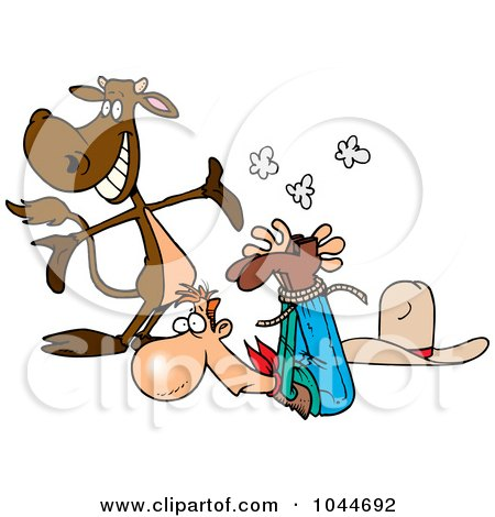 Royalty-Free (RF) Clip Art Illustration of a Cartoon Cow Presenting A Roped Up Cowboy by toonaday