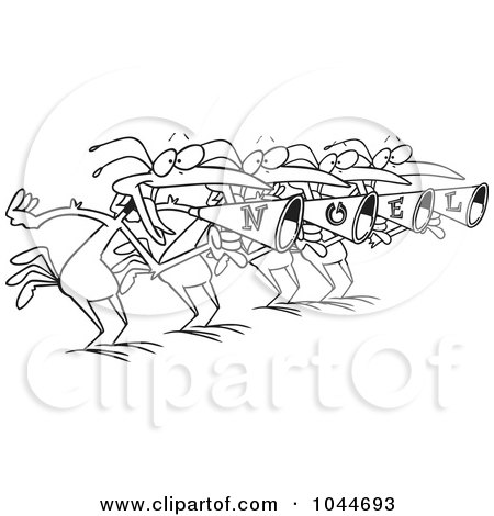 Royalty-Free (RF) Clip Art Illustration of a Cartoon Black And White Outline Design Of Four Birds Calling by toonaday