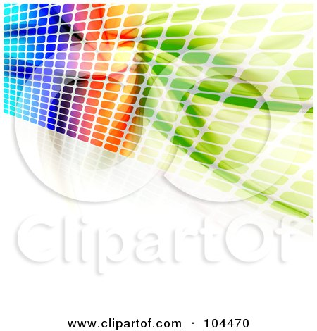 Royalty-Free (RF) Clipart Illustration of a Colorful Wall Of Equalizer Dots And Fractals On White by Arena Creative