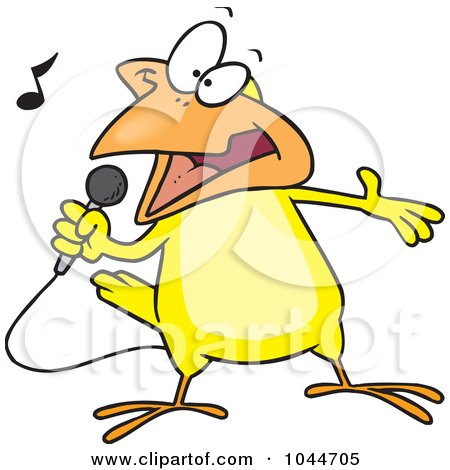 Royalty-Free (RF) Clip Art Illustration of a Cartoon Singing Canary by toonaday