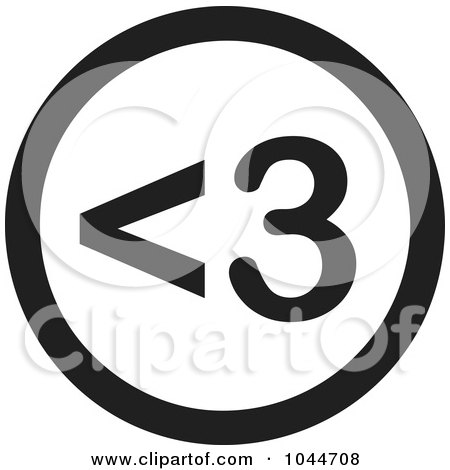 Royalty-Free (RF) Clip Art Illustration of a Black And White Round <3 Heart Text Message Icon by Jamers
