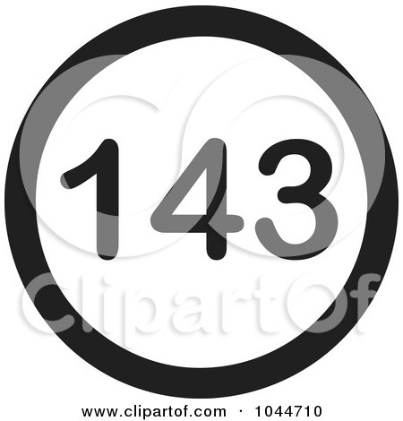Royalty-Free (RF) Clip Art Illustration of a Black And White Round 143 I Love You Text Message Icon by Jamers