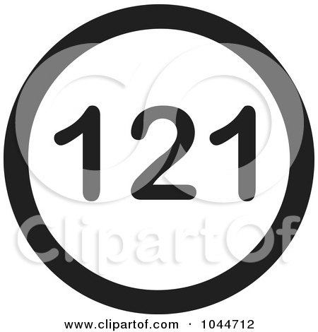Royalty-Free (RF) Clip Art Illustration of a Black And White Round 121 Text Message Icon by Jamers