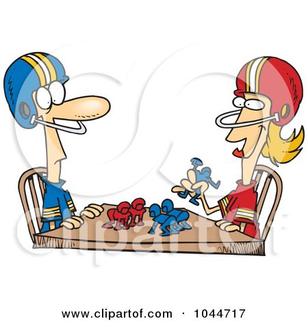 Royalty-Free (RF) Clip Art Illustration of a Cartoon Husband And Wife Playing Table Football by toonaday