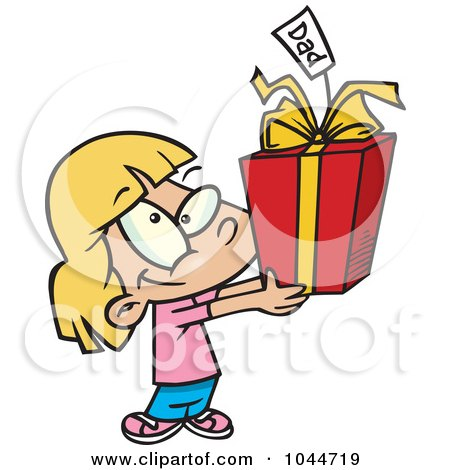 Royalty-Free (RF) Clip Art Illustration of a Cartoon Cute Girl Holding A Fathers Day Gift by toonaday
