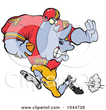 Royalty-Free (RF) Clip Art Illustration of a Cartoon Football Rhino Running by toonaday