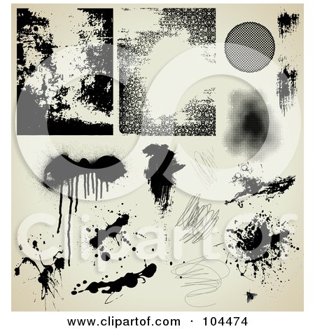 Royalty-Free (RF) Clipart Illustration of a Digital Collage Of Grungy Black Ink Splatters, Drips, Scribbles And Textures On Antique Beige by Anja Kaiser