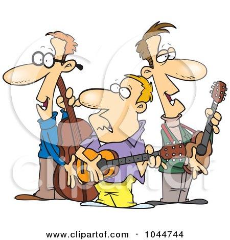 Royalty-Free (RF) Clip Art Illustration of a Cartoon Folk Music Band by toonaday