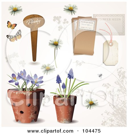 Royalty-Free (RF) Clipart Illustration of a Digital Collage Of Potted Spring Flowers, A Garden Tag, Daisies And Other Tags by Anja Kaiser