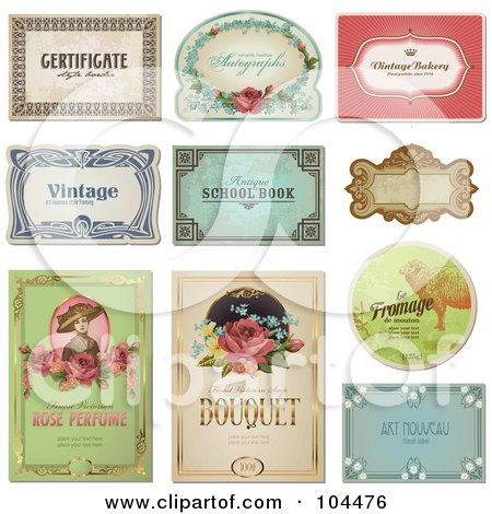 Royalty-Free (RF) Clipart Illustration of a Digital Collage Of Vintage Certificate And Label Designs by Anja Kaiser