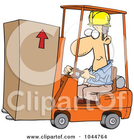 Royalty-Free (RF) Clip Art Illustration of a Cartoon Forklift Operator Moving A Box by toonaday
