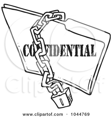 Royalty-Free (RF) Clip Art Illustration of a Cartoon Black And White Outline Design Of A Chain And Lock Over A Confidential Folder by toonaday