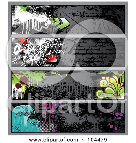 Royalty-Free (RF) Clipart Illustration of a Digital Collage Of Dark Grungy Graffiti Banners With Waves, Drips, Splatters, And Arrows by Anja Kaiser