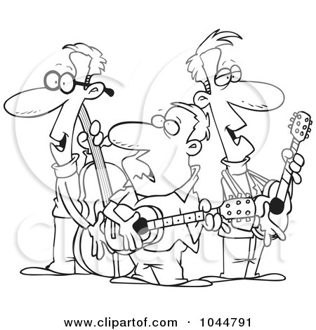 Royalty-Free (RF) Clip Art Illustration of a Cartoon Black And White Outline Design Of A Folk Music Band by toonaday